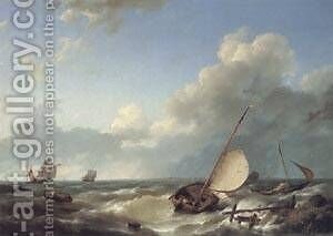 Shipping in a Stiff Breeze by Barend Cornelis Koekkoek - Reproduction Oil Painting