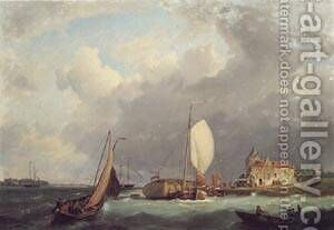 Shipping off the Dutch Coast by Barend Cornelis Koekkoek - Reproduction Oil Painting