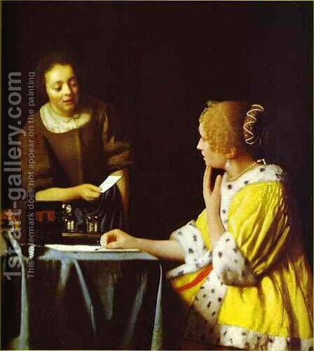 Lady Standing At A Virginal 1673-1675 by Jan Vermeer Van Delft - Reproduction Oil Painting