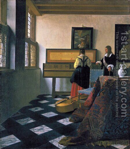 The Music Lesson 1662-1665 by Jan Vermeer Van Delft - Reproduction Oil Painting