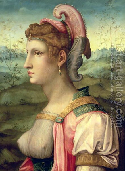 Sibyl 1540 by (circle of) Ubertini, (Bacchiacca) - Reproduction Oil Painting