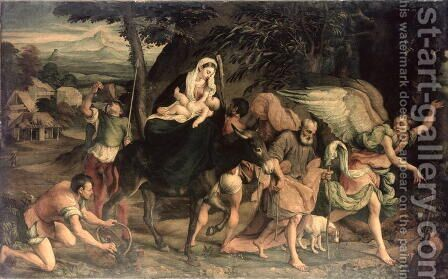 The Flight into Egypt by Jacopo Bassano (Jacopo da Ponte) - Reproduction Oil Painting