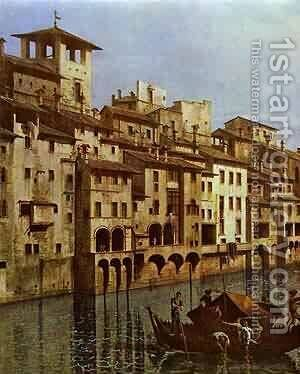 Arno In Florence Detail Early 1740s by Bernardo Bellotto (Canaletto) - Reproduction Oil Painting