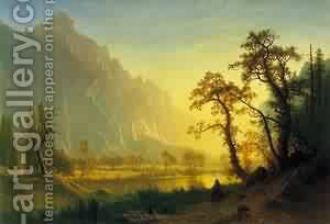 Sunrise Yosemite Valley by Albert Bierstadt - Reproduction Oil Painting