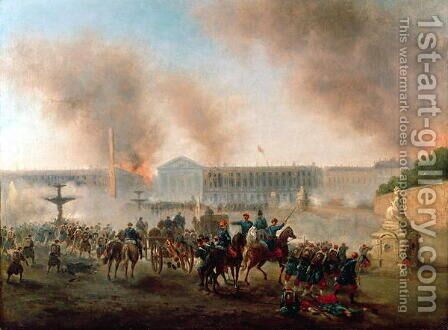 Battle in the Place de la Concorde 1871 by Hans Bollongier - Reproduction Oil Painting