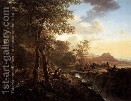 Italian Landscape with Draughtsman 1650 by Jan Both - Reproduction Oil Painting