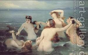 Mermaids Frolicking in the Sea by Charles Edouard Boutibonne - Reproduction Oil Painting