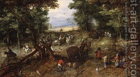 A Woodland Road with Travelers 1607 by Jan The Elder Brueghel - Reproduction Oil Painting