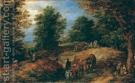 Landscape with Travelers on a Woodland Path ca 1607 by Jan The Elder Brueghel - Reproduction Oil Painting