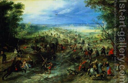 Raid on a caravan of wagons 1612 by Jan The Elder Brueghel - Reproduction Oil Painting