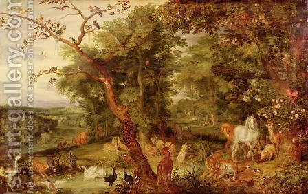 The Garden of Eden in the background The Temptation by Jan The Elder Brueghel - Reproduction Oil Painting