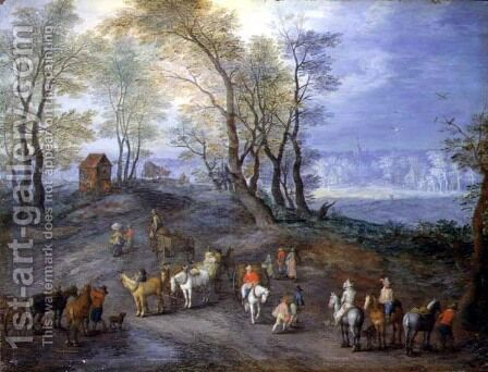 The Road to the Market by Jan The Elder Brueghel - Reproduction Oil Painting