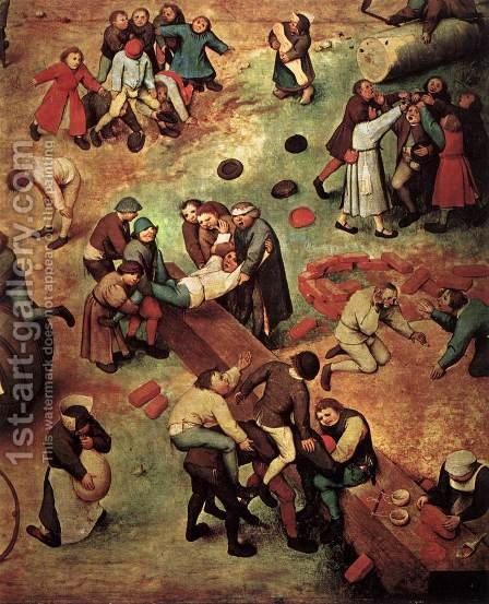 Children's Games (detail) 1559-60 by Jan The Elder Brueghel - Reproduction Oil Painting