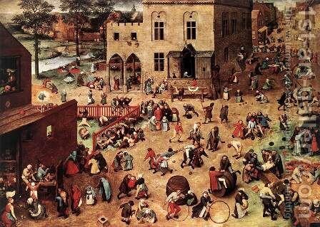 Children's Games 1559-60 by Jan The Elder Brueghel - Reproduction Oil Painting