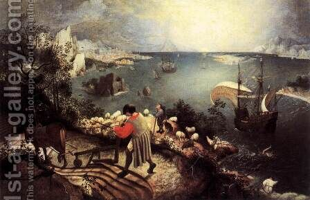 Landscape with the Fall of Icarus 1555 by Jan The Elder Brueghel - Reproduction Oil Painting