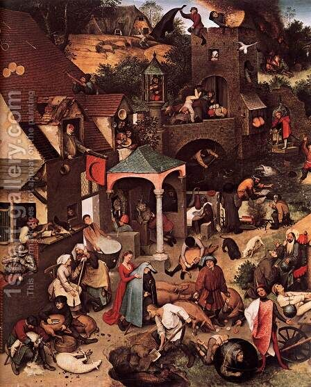Netherlandish Proverbs (detail) 1559 by Jan The Elder Brueghel - Reproduction Oil Painting