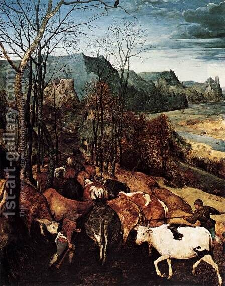 The Return of the Herd (detail) 1565 by Jan The Elder Brueghel - Reproduction Oil Painting