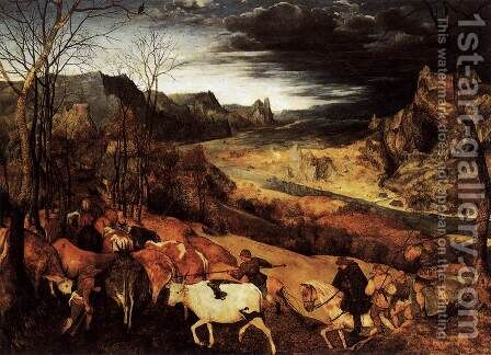 The Return of the Herd (November) 1565 by Jan The Elder Brueghel - Reproduction Oil Painting
