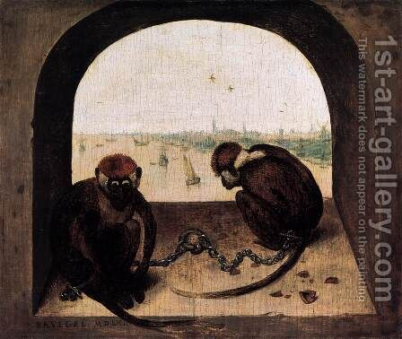 Two Chained Monkeys 1562 by Jan The Elder Brueghel - Reproduction Oil Painting