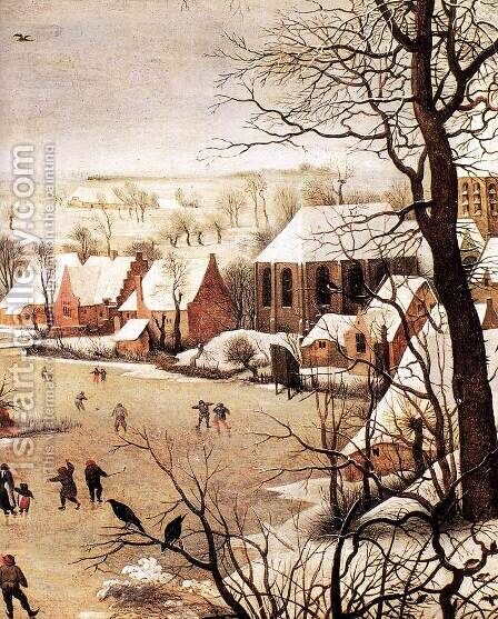 Winter Landscape with Skaters and a Bird Trap (detail) 1565 by Jan The Elder Brueghel - Reproduction Oil Painting