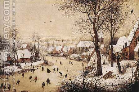 Winter Landscape with Skaters and Bird Trap 1565 2 by Jan The Elder Brueghel - Reproduction Oil Painting