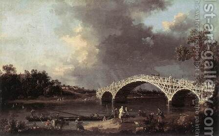 Old Walton Bridge 1754 by (Giovanni Antonio Canal) Canaletto - Reproduction Oil Painting