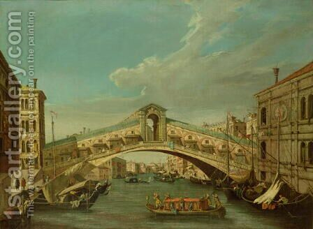 The Rialto Bridge Venice by (Giovanni Antonio Canal) Canaletto - Reproduction Oil Painting