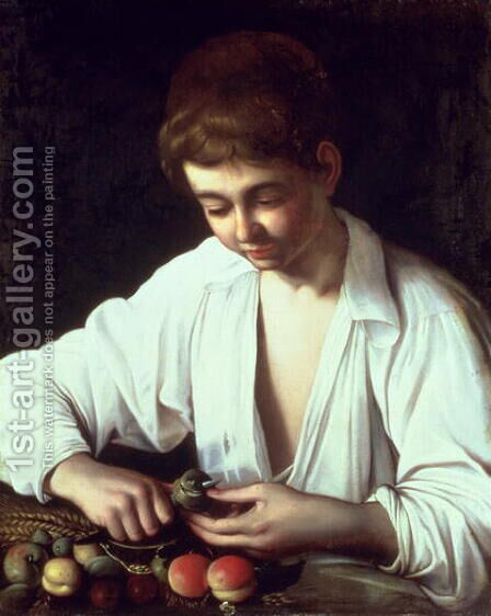 A Young Boy Peeling an Apple by Caravaggio - Reproduction Oil Painting