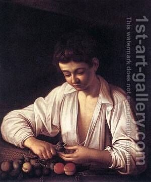 Boy Peeling a Fruit by Caravaggio - Reproduction Oil Painting