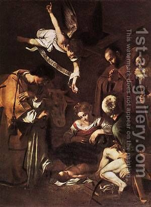 Nativity with St Francis and St Lawrence by Caravaggio - Reproduction Oil Painting