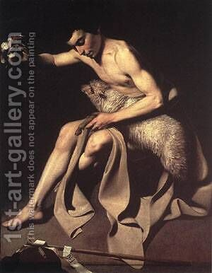 St John the Baptist 2 by Caravaggio - Reproduction Oil Painting