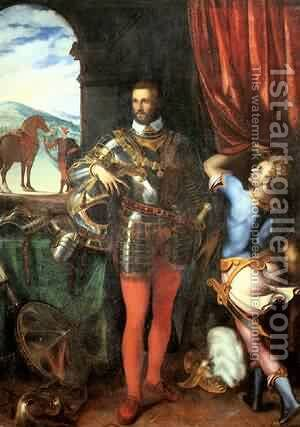 Portrait Of Ottavio Farnese C 1551 by Cariani - Reproduction Oil Painting