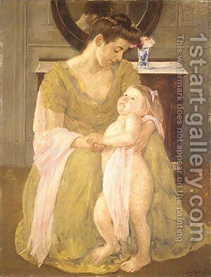 Mother and Child with a Rose Scarf 1908 by Mary Cassatt - Reproduction Oil Painting