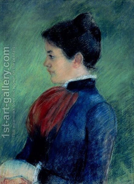 Study of a Woman in a Blue Blouse with a Red Ruff 1895 by Mary Cassatt - Reproduction Oil Painting