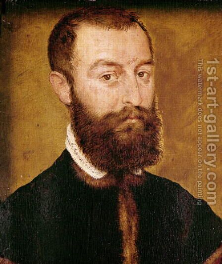 Portrait of a Man with a Beard or Portrait of a Man with Brown Hair by Corneille De Lyon - Reproduction Oil Painting