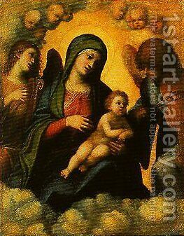 Madonna and Child in Glory with Angels by Correggio (Antonio Allegri) - Reproduction Oil Painting