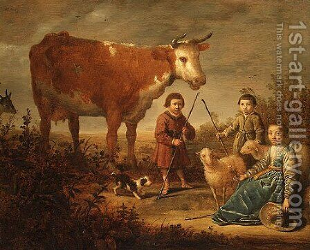 Children and a Cow by Aelbert Cuyp - Reproduction Oil Painting