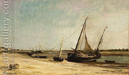 Boats on the Seacoast at aples 1871 by Charles-Francois Daubigny - Reproduction Oil Painting