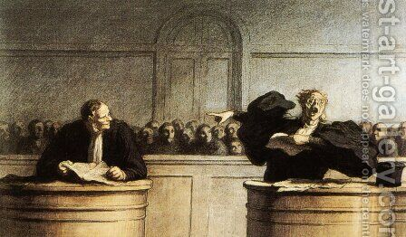 A Famous Motive 1862-65 by Honoré Daumier - Reproduction Oil Painting