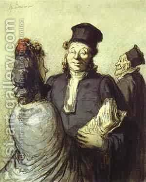 A Lawyer With His Client 1862 by Honoré Daumier - Reproduction Oil Painting