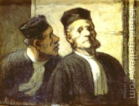 The two Attorneys by Honoré Daumier - Reproduction Oil Painting