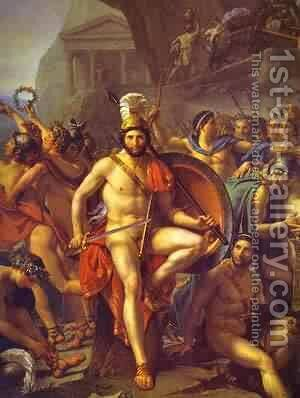 Leonidas At Thermopylae Detail 1814 by Jacques Louis David - Reproduction Oil Painting