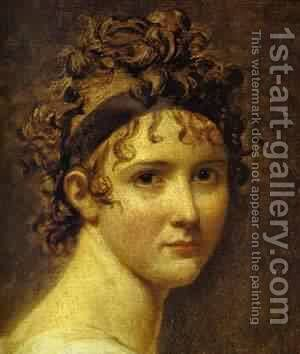 Portrait Of Mme ReCamier Detail 1800 by Jacques Louis David - Reproduction Oil Painting