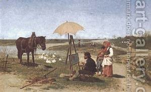Der Pferdemaler by Anton Kozakiewicz - Reproduction Oil Painting