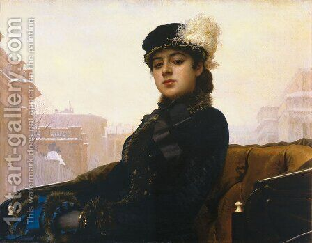 Portrait of a Woman by Ivan Nikolaevich Kramskoy - Reproduction Oil Painting