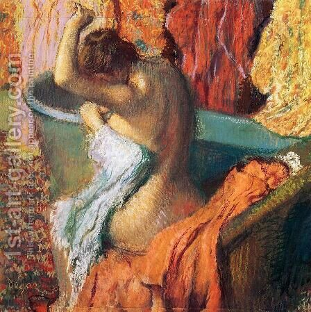 Seated Bather Drying Herself 1895 by Edgar Degas - Reproduction Oil Painting