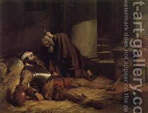 The Dying Warrior c1843 by Charles Zacharie Landelle - Reproduction Oil Painting