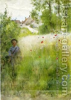 Boy in Meadow by Carl Larsson - Reproduction Oil Painting