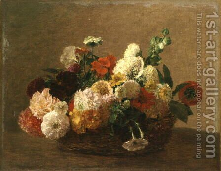 Flower Still Life by Ignace Henri Jean Fantin-Latour - Reproduction Oil Painting