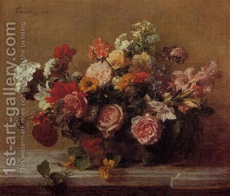 Flowers 1882 by Ignace Henri Jean Fantin-Latour - Reproduction Oil Painting